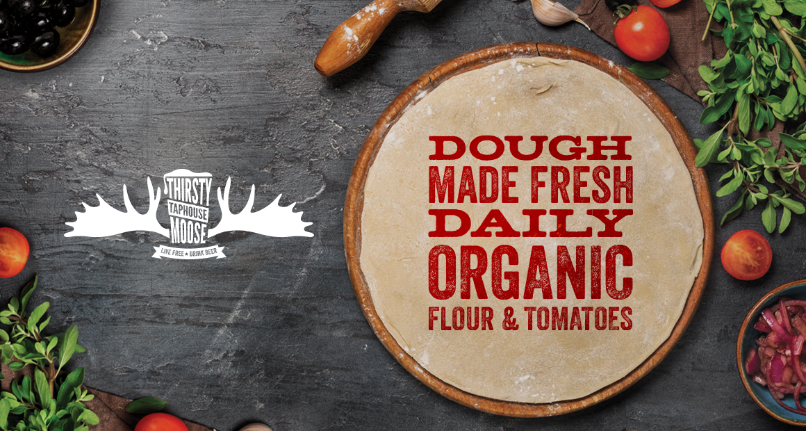 Dough made fresh daily, with organic flour and tomatoes