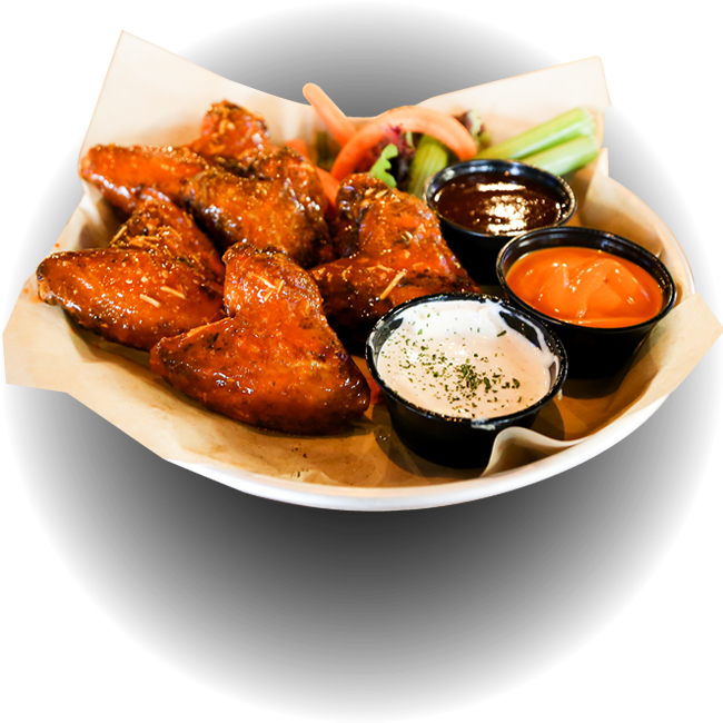 Hot buffalo wings with dipping sauce